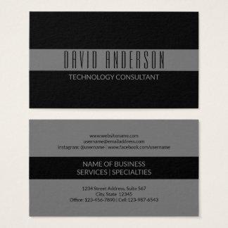 Simple Minimalist Black | Grey Stripe Professional Business Card