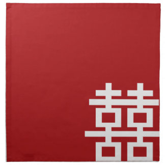 Simple Minimalist Double Happiness Chinese Wedding Napkin