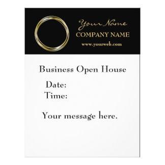 Simple Minimalist Gold Ring  Black Business LOGO Flyer
