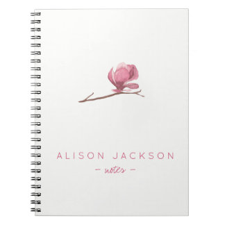 Simple minimalist watercolor floral blush pink notebook