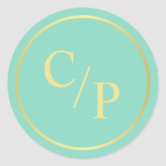 Simple Mint and Gold with Monogram Classic Round Sticker