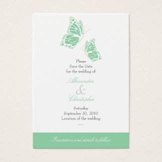 Simple Mint Butterfly Save The Date Wedding Mini Business Card