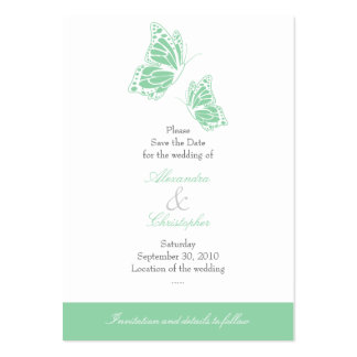 Simple Mint Butterfly Save The Date Wedding Mini Pack Of Chubby Business Cards