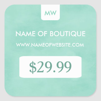 Simple Mint Chic Boutique Monogram Price Tags Square Sticker