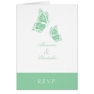 Simple Mint Green Butterfly RSVP Note Card