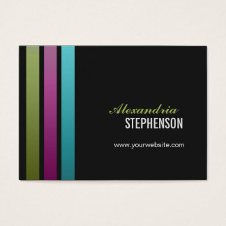 Simple Modern 3 Vertical Stripes Chubby Business Card