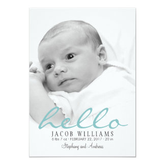 Simple Modern Baby Birth Photo Announcement Boy