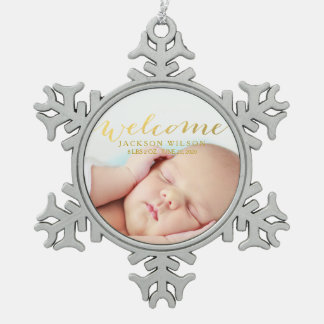 Simple Modern Baby Birth Photo Announcement Pewter Snowflake Decoration