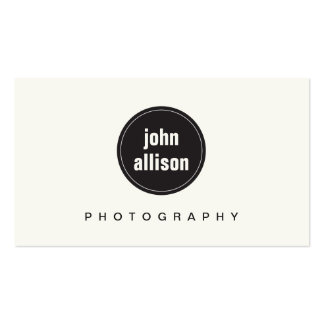 Simple Modern Black and White, Black Circle Emblem Business Card Template