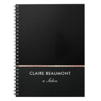 Simple Modern Black Rose Gold Sequin Notebook