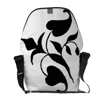 Simple Modern Black White Vine Rickshaw Messenger  Courier Bags