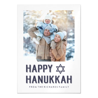 Simple Modern Blue Happy Hanukkah with Photo Magnetic Invitations