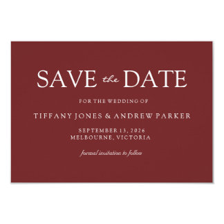 Simple Modern Burgundy Red Wedding Save the date Card