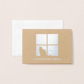 Simple Modern Cat Silhouette in Window Silver Real Foil Card