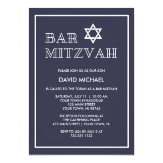Simple Modern Dark Blue and White Bar Mitzvah Card