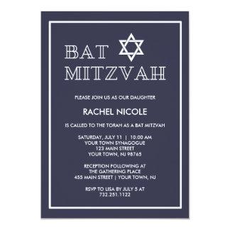 Simple Modern Dark Blue and White Bat Mitzvah Card
