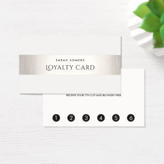 Simple Modern FAUX Silver Striped Loyalty 6 Punch Business Card