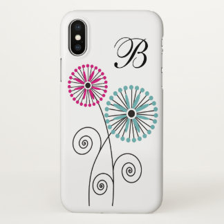 Simple Modern Floral Pattern Monogram iPhone X Case