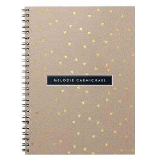 SIMPLE modern geo confetti pattern gold foil kraft Notebooks