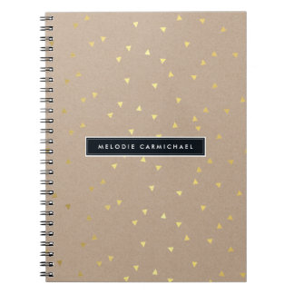 SIMPLE modern geo confetti pattern gold foil kraft Spiral Note Book