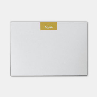 Simple  Modern Gold Block Border Custom Monogram Post-it Notes