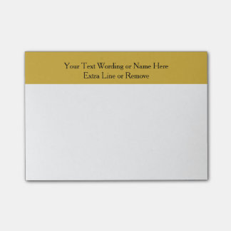 Simple Modern Gold Stripe Custom Wording or Color Post-it Notes