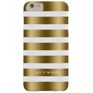 Simple Modern Gold Stripes On White Background Barely There iPhone 6 Plus Case