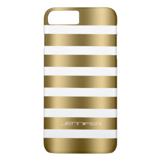 Simple Modern Gold Stripes On White Background iPhone 7 Plus Case