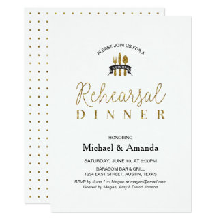 Simple Modern Gold Wedding Rehearsal Dinner Card