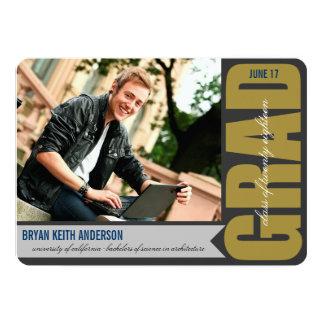 "Simple Modern GRAD Overlay Graduation Party Invite 5"" X 7"" Invitation Card"