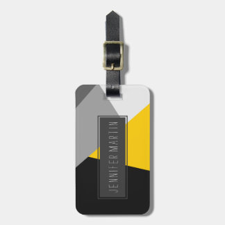 Simple Modern Gray Yellow and Black Geo Luggage Tag