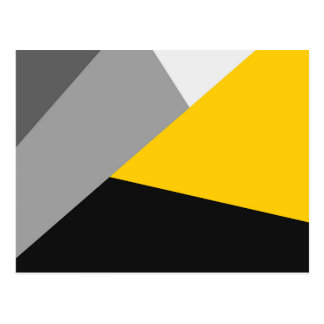 Simple Modern Gray Yellow and Black Geo Postcard