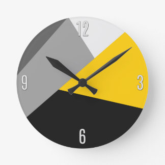 Simple Modern Gray Yellow and Black Geo Round Clock