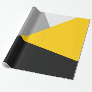 Simple Modern Gray Yellow and Black Geo Wrapping Paper
