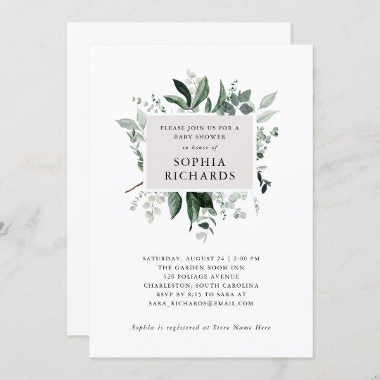 Simple Modern Greenery | Baby Shower Invitation