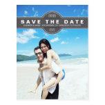 Simple Modern Grey Save the Date Photo Postcard