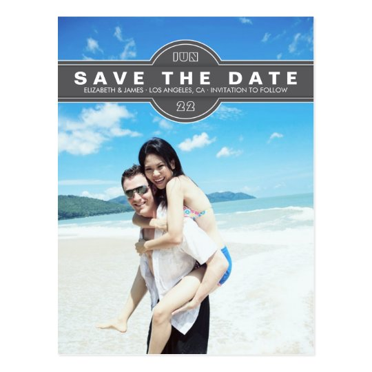 Simple Modern Grey Save the Date Photo Postcard