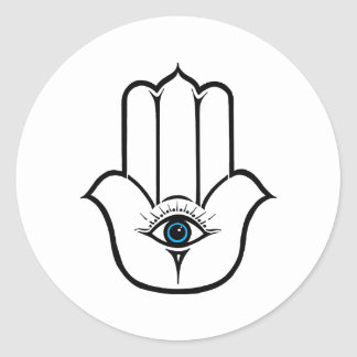 Simple Modern Hamsa Hand of Fatima Classic Round Sticker