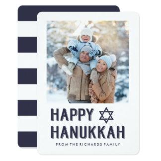 Simple Modern Happy Hanukkah with Photo Card