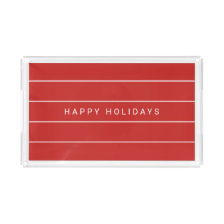 Simple Modern Happy Holidays Acrylic Tray