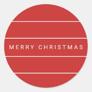 Simple Modern Merry Christmas Classic Round Sticker