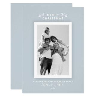 Simple Modern Minimal Blue Christmas Photo Card