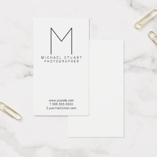 Simple Modern Minimalist Black and White Monogram Business Card