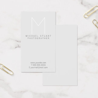 Simple Modern Minimalist Grey Monogram Business Card