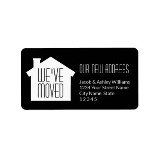 Simple Modern Minimalist New Address | We've Moved Label