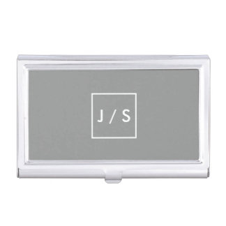 Simple Modern Monogram Grey Business Card Holders