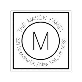 Simple Modern Monogram Name with Return Address Self-inking Stamp
