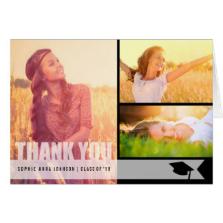 Simple Modern Overlay Graduation Photo Thank You Note Card