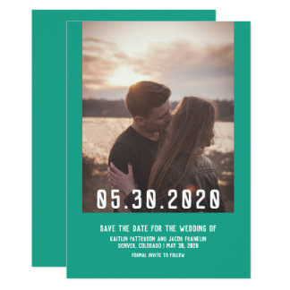 Simple Modern Photo Save the Date | Arcadia Green Card