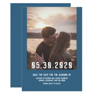 Simple Modern Photo Save the Date | Blue Card